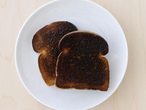 Image result for burnt toast on plate